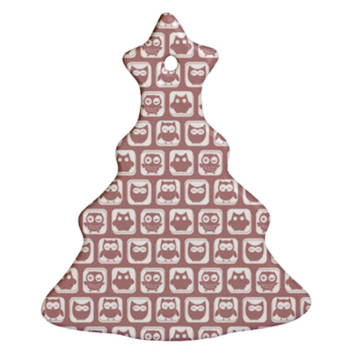 Light Pink And White Owl Pattern Ornament (Christmas Tree)