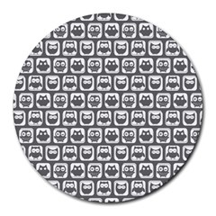 Gray And White Owl Pattern Round Mousepads by creativemom