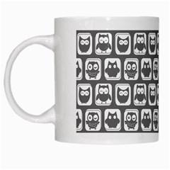 Gray And White Owl Pattern White Mugs by creativemom