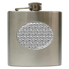 Gray And White Owl Pattern Hip Flask (6 oz) by creativemom