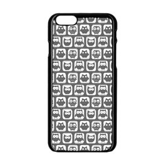 Gray And White Owl Pattern Apple Iphone 6 Black Enamel Case by creativemom