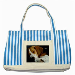 Beagle Sleeping Striped Blue Tote Bag  by TailWags