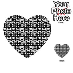 Black And White Owl Pattern Playing Cards 54 (Heart)