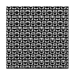 Black And White Owl Pattern Face Towel by creativemom