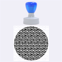 Black And White Owl Pattern Rubber Round Stamps (Large)