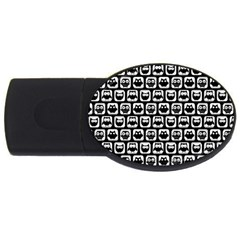 Black And White Owl Pattern Usb Flash Drive Oval (4 Gb)  by creativemom