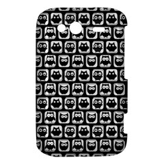 Black And White Owl Pattern HTC Wildfire S A510e Hardshell Case by creativemom