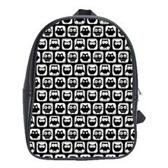 Black And White Owl Pattern School Bags (xl)  by creativemom