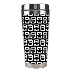 Black And White Owl Pattern Stainless Steel Travel Tumblers by creativemom