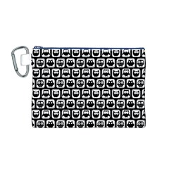 Black And White Owl Pattern Canvas Cosmetic Bag (M) by creativemom
