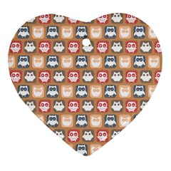Colorful Whimsical Owl Pattern Heart Ornament (2 Sides) by creativemom