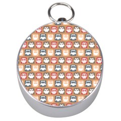 Colorful Whimsical Owl Pattern Silver Compasses by creativemom