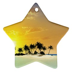 Beautiful Island In The Sunset Ornament (star)  by FantasyWorld7