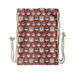 Colorful Whimsical Owl Pattern Drawstring Bag (Small) Front