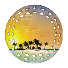 Beautiful Island In The Sunset Ornament (round Filigree)  by FantasyWorld7