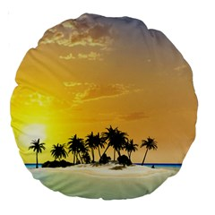 Beautiful Island In The Sunset Large 18  Premium Round Cushions by FantasyWorld7