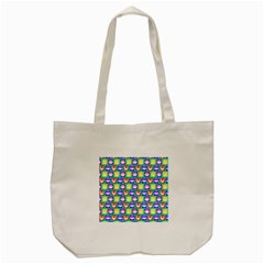 Colorful Whimsical Owl Pattern Tote Bag (cream)  by creativemom