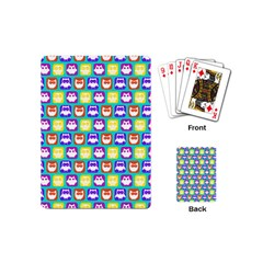 Colorful Whimsical Owl Pattern Playing Cards (mini)  by creativemom