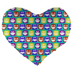 Colorful Whimsical Owl Pattern Large 19  Premium Heart Shape Cushions by creativemom