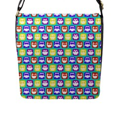 Colorful Whimsical Owl Pattern Flap Messenger Bag (l)  by creativemom