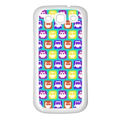 Colorful Whimsical Owl Pattern Samsung Galaxy S3 Back Case (white) by creativemom