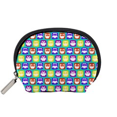 Colorful Whimsical Owl Pattern Accessory Pouches (small)