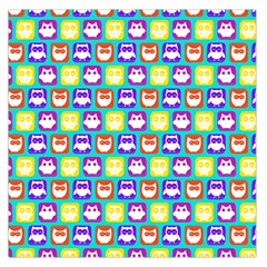 Colorful Whimsical Owl Pattern Large Satin Scarf (square) by creativemom