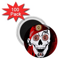 Funny Happy Skull 1 75  Magnets (100 Pack)  by FantasyWorld7