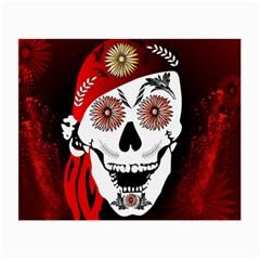 Funny Happy Skull Small Glasses Cloth by FantasyWorld7