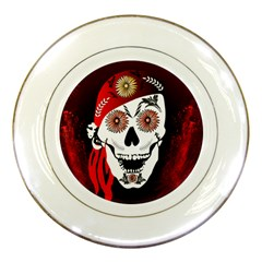 Funny Happy Skull Porcelain Plates by FantasyWorld7
