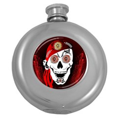 Funny Happy Skull Round Hip Flask (5 Oz) by FantasyWorld7