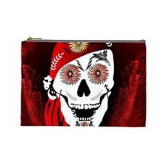 Funny Happy Skull Cosmetic Bag (large)  by FantasyWorld7