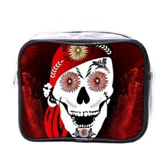 Funny Happy Skull Mini Toiletries Bags by FantasyWorld7