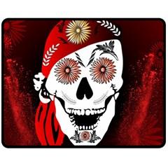 Funny Happy Skull Double Sided Fleece Blanket (medium)  by FantasyWorld7