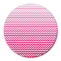 Pink Gradient Chevron Round Mousepads by CraftyLittleNodes
