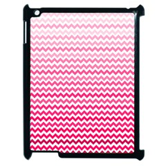 Pink Gradient Chevron Apple Ipad 2 Case (black) by CraftyLittleNodes