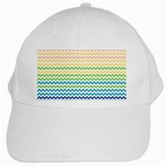 Pastel Gradient Rainbow Chevron White Cap