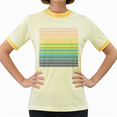 Pastel Gradient Rainbow Chevron Women s Fitted Ringer T Shirts by CraftyLittleNodes