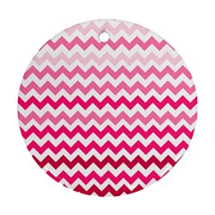 Pink Gradient Chevron Large Round Ornament (two Sides)  by CraftyLittleNodes