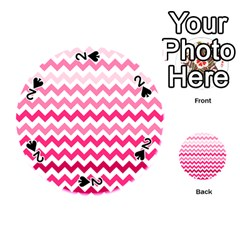 Pink Gradient Chevron Large Playing Cards 54 (round)