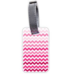 Pink Gradient Chevron Large Luggage Tags (two Sides) by CraftyLittleNodes