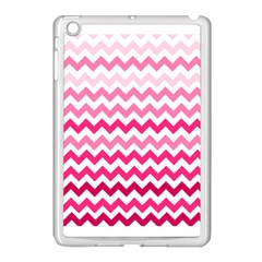 Pink Gradient Chevron Large Apple iPad Mini Case (White) by CraftyLittleNodes