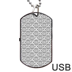 Gray Damask Dog Tag Usb Flash (one Side) by CraftyLittleNodes