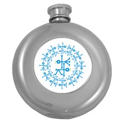 Blue Birds And Olive Branch Circle Icon Round Hip Flask (5 Oz) by thisisnotme