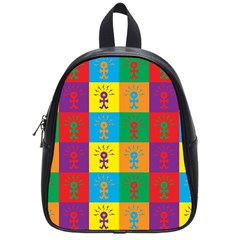 Multi Coloured Lots Of Angry Babies Icon School Bags (small)  by thisisnotme