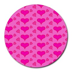 Hearts Pink Round Mousepads by MoreColorsinLife
