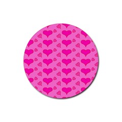 Hearts Pink Rubber Coaster (round)  by MoreColorsinLife