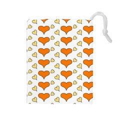Hearts Orange Drawstring Pouches (large)  by MoreColorsinLife