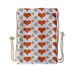 Hearts Orange Drawstring Bag (small) by MoreColorsinLife