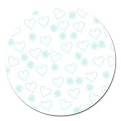 Flowers And Hearts Magnet 5  (round)